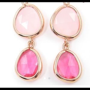 Pink rose gold drop earrings with faceted stones
